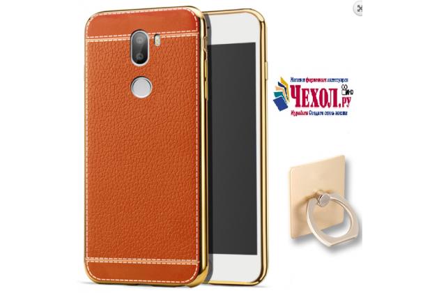 Фирменная премиальная элитная крышка-накладка на for Xiaomi Mi5s Plus коричневая из качественного силикона с дизайном под кожу