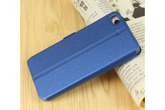"""Фирменный чехол-книжка для Xiaomi Mi5s Plus"""" синий с окошком для входящих вызовов и свайпом водоотталкивающий"""