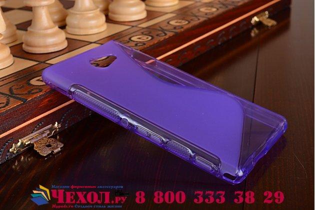 Фирменная ультра-тонкая полимерная из мягкого качественного силикона задняя панель-чехол-накладка для Sony Xperia M2 Aqua D2403 фиолетовая
