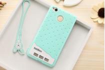 """Фирменная необычная уникальная полимерная мягкая задняя панель-чехол-накладка для Xiaomi Redmi 3 Pro/ 3S 5.0 """"тематика Андроид в Мятном  Шоколаде"""""""