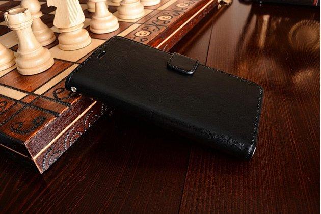 Фирменный чехол-книжка для Xiaomi Redmi 3 Pro/ 3S 5.0 с визитницей и мультиподставкой черный кожаный