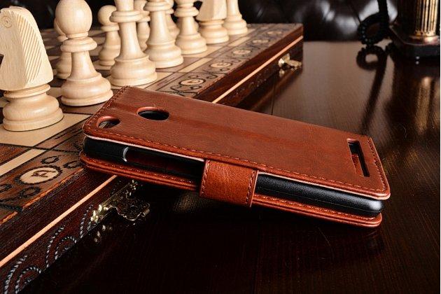 Фирменный чехол-книжка для Xiaomi Redmi 3 Pro/ 3S 5.0 с визитницей и мультиподставкой коричневый кожаный
