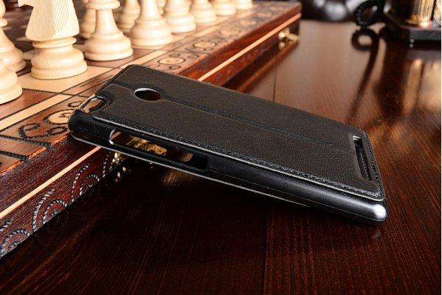 Фирменный чехол-книжка  с окошком для входящих вызовов и свайпом  для Xiaomi Redmi 3 Pro/ 3S 5.0  водоотталкивающий черный