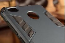 Фирменная задняя противоударная панель-крышка-накладка из прочного пластика для Xiaomi Redmi 3 Pro/ 3S 5.0  черная