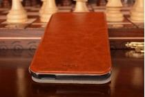 """Фирменный чехол-книжка из качественной водоотталкивающей импортной кожи на жёсткой металлической основе для  Xiaomi Redmi Note 3 /Xiaomi Redmi Note 2 Pro 5.5"""" коричневый"""