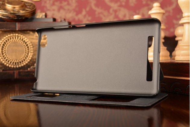 """Фирменный чехол-книжка для Xiaomi Redmi 3/3X 5.0"""" из качественной импортной кожи черный с окошком для входящих вызовов и свайпом"""