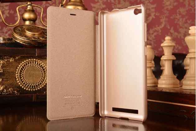 Фирменный оригинальный ультра-тонкий водоотталкивающий чехол-обложка для Xiaomi Redmi 3/3X 5.0 золотой кожаный