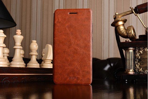 Фирменный чехол-книжка из качественной водоотталкивающей импортной кожи на жёсткой металлической основе для Xiaomi Redmi 3/3X 5.0 коричневый