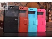 Чехол-книжка для Xiaomi Redmi 4 кожаный с окошком для вызовов и внутренним защитным силиконовым бампером. цвет..