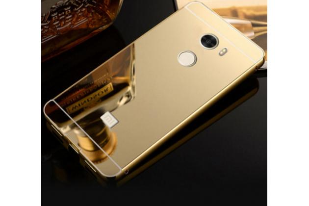 """Фирменная металлическая задняя панель-крышка-накладка из тончайшего облегченного авиационного алюминия для Xiaomi Redmi 4 2GB+16Gb/ Android 6.0 / 1280:720 / 5.0"""" / вспышка справа золотая"""