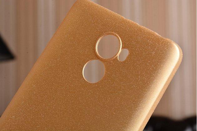 """Фирменная ультра-тонкая силиконовая задняя панель-чехол-накладка с защитой боковых кнопок для Xiaomi Redmi 4 2GB+16Gb/ Android 6.0 / 1280:720 / 5.0"""" / вспышка справа золотая"""