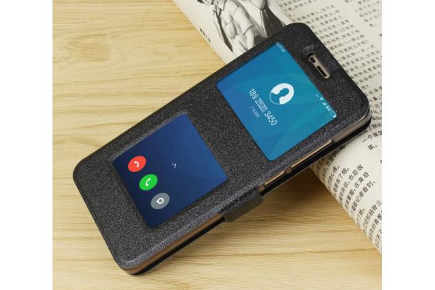 """Фирменный чехол-книжка для Xiaomi Redmi 4 2GB+16Gb/ Android 6.0 / 1280:720 / 5.0"""" / вспышка справа черный с окошком для входящих вызовов и свайпом водоотталкивающий"""