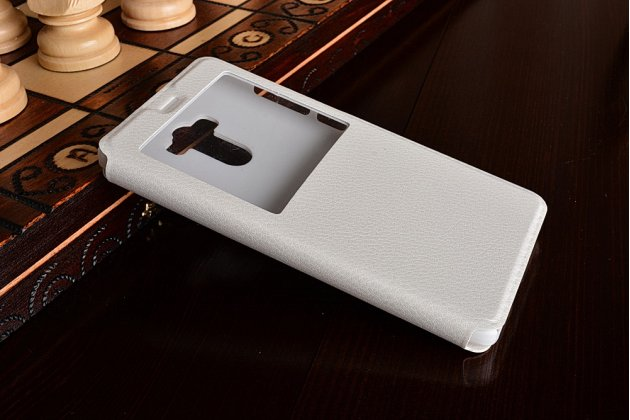 """Фирменный оригинальный чехол-книжка для Xiaomi Redmi 4 2GB+16Gb/ Android 6.0 / 1280:720 / 5.0"""" / вспышка справа  белый водоотталкивающий с окошком для входящих вызовов"""