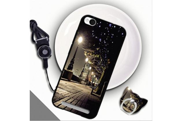 Фирменная уникальная задняя панель-крышка-накладка из тончайшего силикона для Xiaomi Redmi 4A с объёмным 3D рисунком тематика Ночной Город