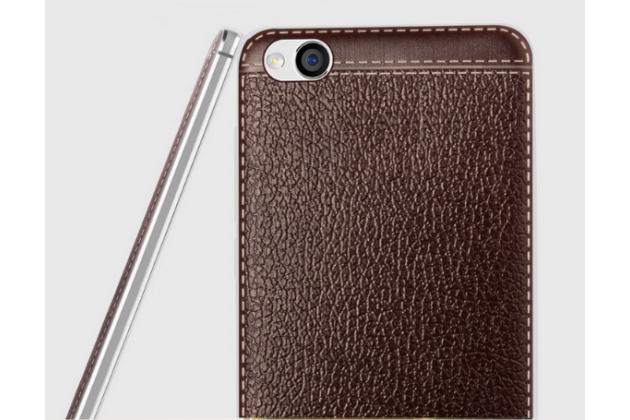Фирменная премиальная элитная крышка-накладка из качественного силикона с дизайном под кожу для Xiaomi Redmi 4A коричневая