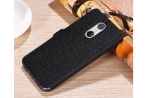 Фирменный чехол-книжка для Xiaomi Redmi 4A черный с окошком для входящих вызовов и свайпом водоотталкивающий