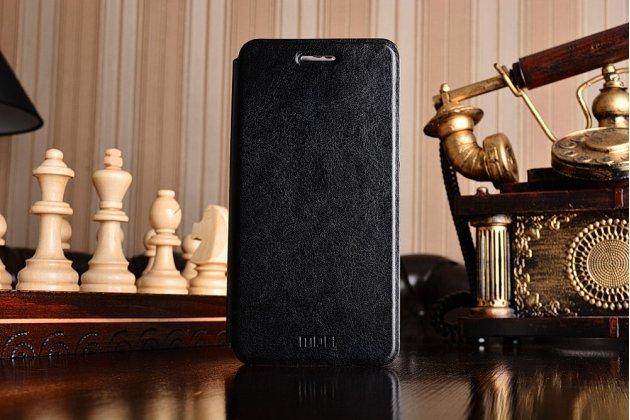Фирменный чехол-книжка из качественной водоотталкивающей импортной кожи на жёсткой металлической основе для Xiaomi Redmi 4A черный