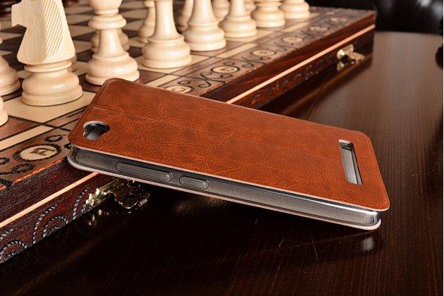 Фирменный чехол-книжка из качественной водоотталкивающей импортной кожи на жёсткой металлической основе для Xiaomi Redmi 4A коричневый