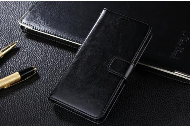 Фирменный чехол-книжка  из качественной импортной кожи с застёжкой и мультиподставкой для Xiaomi Redmi 4A черный