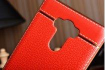 """Фирменная премиальная элитная крышка-накладка из качественного силикона с дизайном под кожу для for Xiaomi Redmi 4 Pro 3GB 32Gb/ Android 6.0 / 1920:1080 / 5.0"""" / вспышка слева красная"""