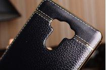 """Фирменная премиальная элитная крышка-накладка из качественного силикона с дизайном под кожу для for Xiaomi Redmi 4 Pro 3GB 32Gb/ Android 6.0 / 1920:1080 / 5.0"""" вспышка слева  черная"""