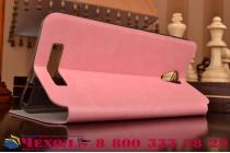 """Фирменный чехол-книжка  для  Xiaomi Redmi Note 2/ Note 2 Prime 5.5""""  из качественной водоотталкивающей импортной кожи на жёсткой металлической основе розового цвета"""