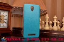 """Фирменный чехол-книжка  для  Xiaomi Redmi Note 2/ Note 2 Prime 5.5""""  из качественной водоотталкивающей импортной кожи на жёсткой металлической основе голубого цвета"""