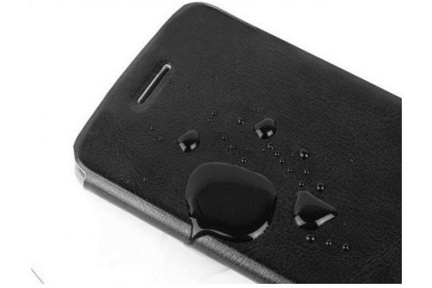 """Фирменный чехол-книжка  для  Xiaomi Redmi Note 2/ Note 2 Prime 5.5""""  из качественной водоотталкивающей импортной кожи на жёсткой металлической основе коричневого цвета"""