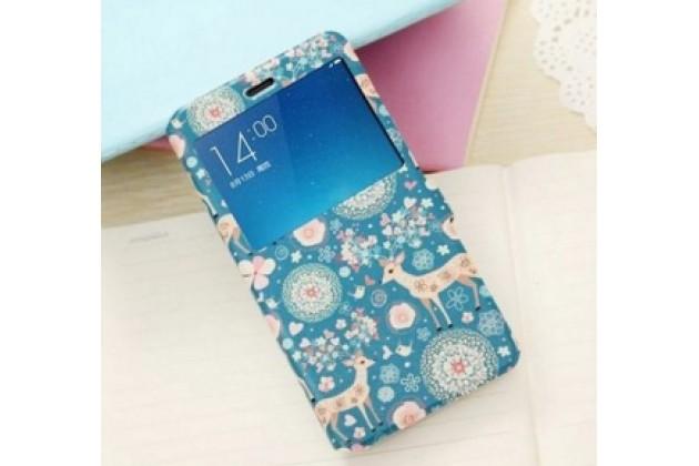 """Фирменный чехол-книжка с безумно красивым расписным рисунком Оленя в цветах на Xiaomi Redmi Note 2/ Note 2 Prime 5.5"""" с окошком для звонков"""