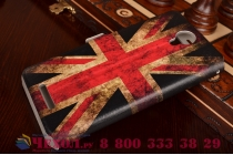 "Фирменный чехол-книжка с рисунком на тему ""Ретро Британский флаг"" на Xiaomi Redmi Note 2/ Note 2 Prime 5.5  с окошком для звонков"