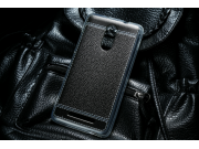 Фирменная премиальная элитная крышка-накладка на Xiaomi Redmi Note 2 5.5 черная из качественного силикона с ди..