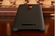 Фирменная премиальная элитная крышка-накладка на Xiaomi Redmi Note 3 Pro SE (Special Edition) / 152.5 мм / Android 6.0 черная из качественного силикона с дизайном под кожу