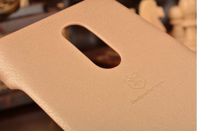 Фирменная премиальная элитная крышка-накладка на Xiaomi Redmi Note 3 Pro SE (Special Edition) / 152.5 мм / Android 6.0 золотая из качественного силикона с дизайном под кожу