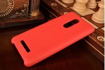 Фирменная премиальная элитная крышка-накладка на Xiaomi Redmi Note 3 Pro SE (Special Edition) / 152.5 мм / Android 6.0 красная из качественного силикона с дизайном под кожу