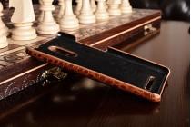 Фирменная элегантная экзотическая задняя панель-крышка с фактурной отделкой натуральной кожи крокодила кофейного цвета для Xiaomi Redmi Note 3. Только в нашем магазине. Количество ограничено.