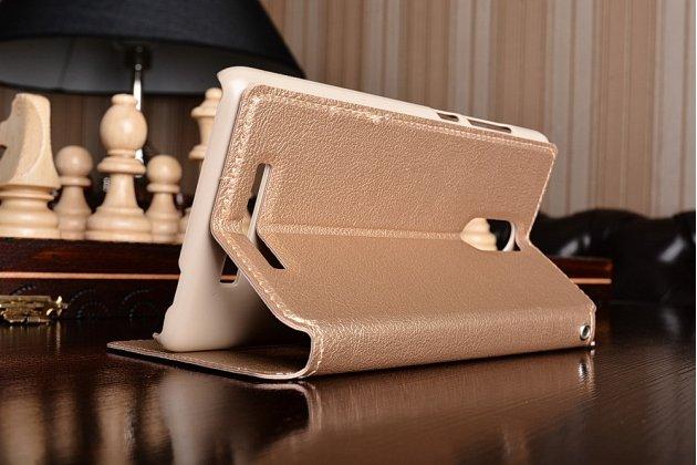 """Фирменный чехол-книжка для Xiaomi Redmi Note 3 /Xiaomi Redmi Note 2 Pro 5.5""""  золотой с окошком для входящих вызовов и свайпом водоотталкивающий"""