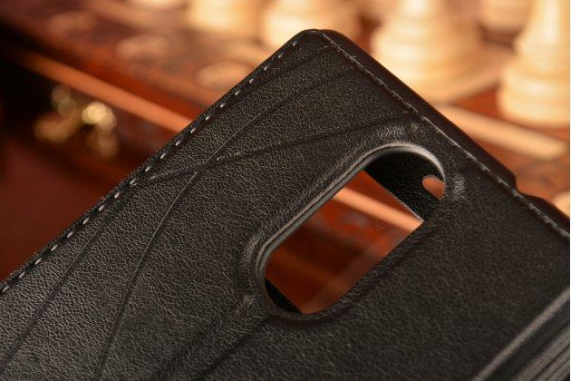 """Фирменный чехол-книжка для Xiaomi Redmi Note 3 /Xiaomi Redmi Note 2 Pro 5.5""""  черный с окошком для входящих вызовов и свайпом водоотталкивающий"""