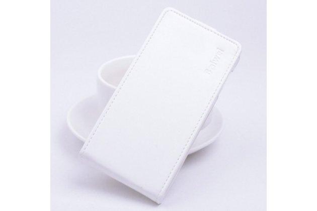 """Фирменный оригинальный вертикальный откидной чехол-флип для Xiaomi Redmi Note 3 /Xiaomi Redmi Note 2 Pro 5.5"""" """" белый кожаный """"Prestige"""" Италия"""