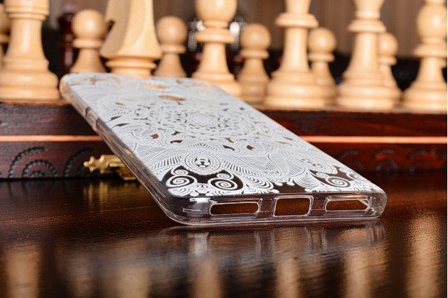 """Фирменная задняя панель-чехол-накладка из прозрачного 3D  силикона с объёмным рисунком для Xiaomi Redmi Note 4 5.5""""  """"тематика Белое кружево"""" которая огибает логотип чтобы была видна марка телефона"""