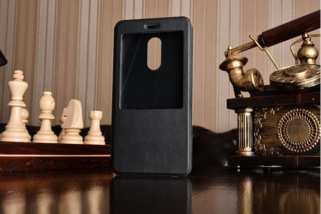 """Фирменный оригинальный чехол-книжка для Xiaomi Redmi Note 4 5.5""""  черный кожаный с окошком для входящих вызовов"""