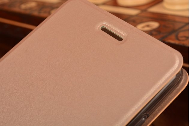 """Фирменный чехол-книжка  для Xiaomi Redmi Note 4 5.5"""" из качественной водоотталкивающей импортной кожи на жёсткой металлической основе золотого цвета"""