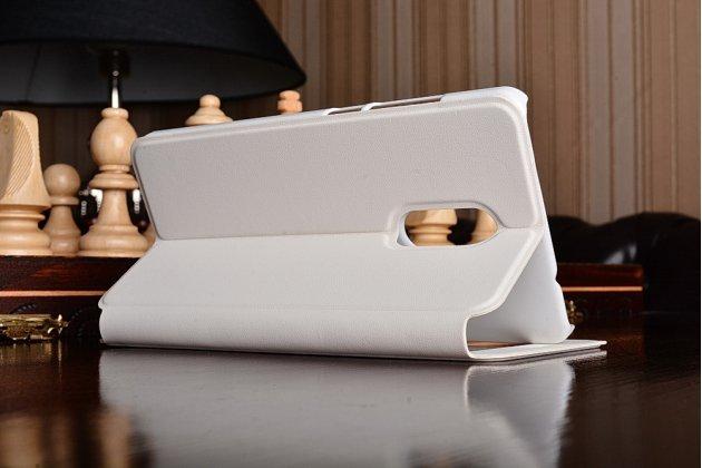 """Фирменный оригинальный чехол-книжка с логотипом для Xiaomi Redmi Note 4 5.5""""  белый кожаный с окошком для входящих вызовов"""