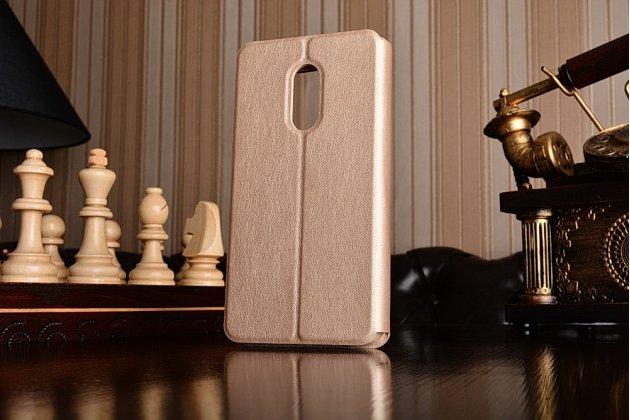 """Фирменный оригинальный чехол-книжка с логотипом для Xiaomi Redmi Note 4 5.5""""  золотой кожаный с окошком для входящих вызовов"""