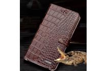 """Фирменный роскошный эксклюзивный чехол с фактурной прошивкой рельефа кожи крокодила и визитницей коричневый для Xiaomi Redmi Note 4 5.5"""". Только в нашем магазине. Количество ограничено"""