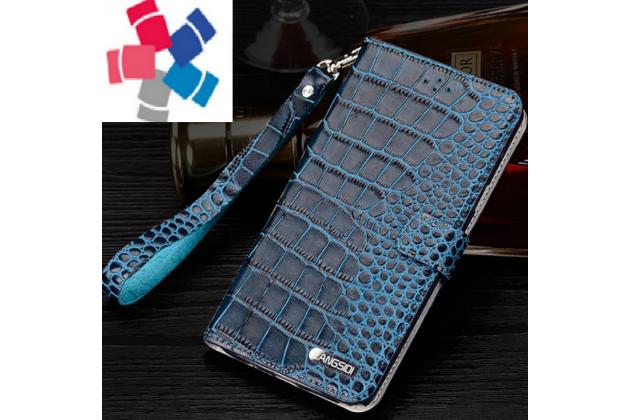 """Фирменный роскошный эксклюзивный чехол с фактурной прошивкой рельефа кожи крокодила и визитницей синий для Xiaomi Redmi Note 4 5.5"""". Только в нашем магазине. Количество ограничено"""