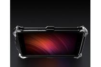 """Противоударный металлический чехол-бампер из цельного куска металла с усиленной защитой углов и необычным экстремальным дизайном для Xiaomi Redmi Note 4 5.5"""" серебристого цвета"""