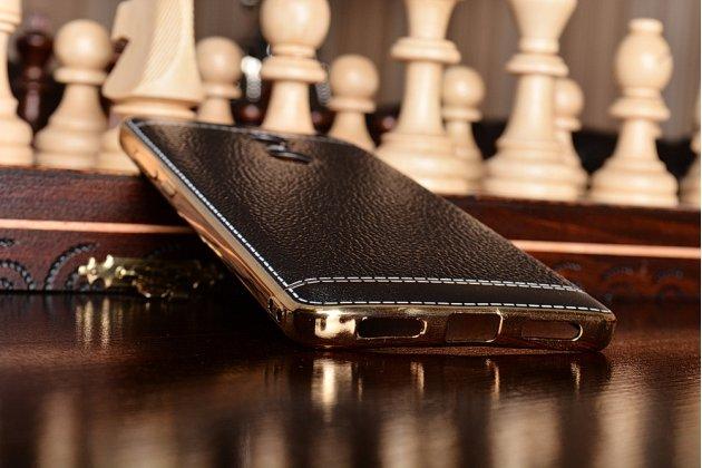 """Фирменная премиальная элитная крышка-накладка из качественного силикона с дизайном под кожу для Xiaomi Redmi Note 4 5.5""""  черная"""