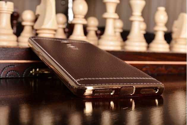 """Фирменная премиальная элитная силиконовая крышка-накладка с отделкой под кожу для Xiaomi Redmi Note 4 5.5"""" """"Ретро"""" коричневая"""