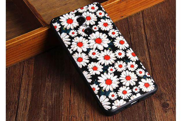 """Фирменная роскошная задняя панель-чехол-накладка из мягкого силикона с объемным  3D изображением на Xiaomi Redmi Note 4 5.5"""" с безумно красивым рисунком  """"Тематика Ромашки"""""""