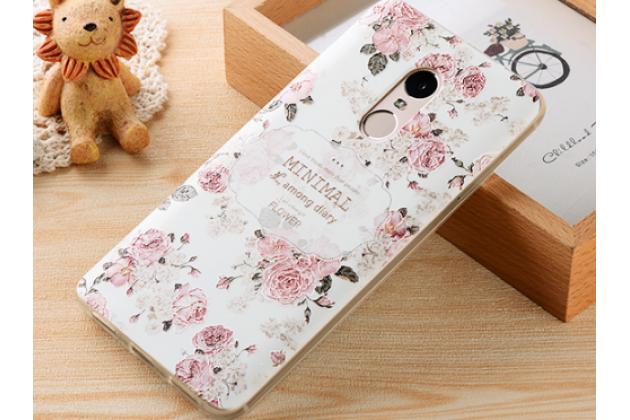 """Фирменная ультра-тонкая силиконовая задняя панель-крышка-накладка для Xiaomi Redmi Note 4 с 3D объёмным рисунком """"тематика королевские Розы"""""""